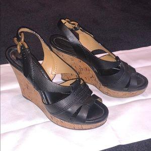 Chloé Black Leather Wedges